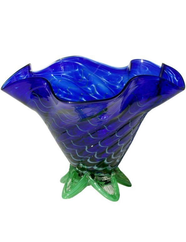 Purple Bowl With Swirl Design Santa Barbara Art Glass