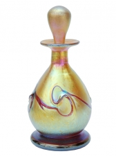 Gold Luster Perfume Bottle Red Necklace Hand Blown Glass Perfume Bottle. Made when order