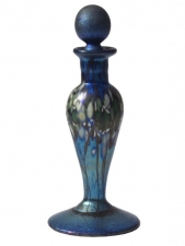 Blue Luster Perfume Bottle Forest Design - P03 -  Hand Blown Glass Perfume Bottle, Glass Art for Sale