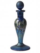 Blue Luster Perfume Bottle Forest Design - P03 -  Hand Blown Glass Perfume Bottle, Glass Art for Sale