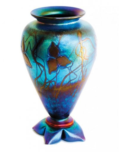 Blue Luster Vase With Flower/Vines - V17 - Hand Blown Glass Vases