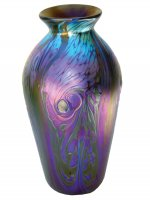 Iridescent Blue Vase With Wave Des - V18 - Hand Blown Glass Vases