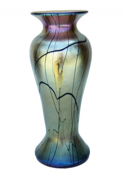 Gold Luster Vase With Vines - V21 - Hand Blown Glass Vases