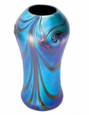 Blue luster vase with red feather des - V24 - Hand Blown Glass Vases. Glass Art for Sale