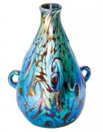 Blue Luster Vase With Lava Des - V25 - Hand Blown Glass Vases