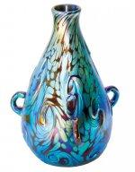 Blue Luster Vase With Lava Des - V25 - Hand Blown Glass Vases