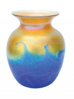 Iridescent Gold Vase With Blue Waves - V30 - Hand Blown Glass Vases