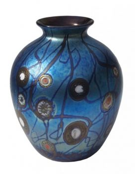Blue Luster Vase With Millifiores - V32 - Hand Blown Glass Vases. Glass Art for Sale