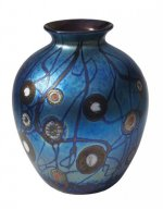 Blue Luster Vase With Millifiores - V32 - Hand Blown Glass Vases