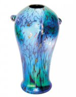 Blue luster vase with oil spot des - V36 - Hand Blown Glass Vases