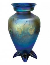 Blue Luster Vase With White Heart/Vine - V38 - Hand Blown Glass Vases. Glass Art for Sale