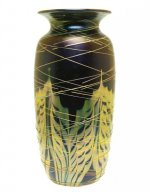 Blue Luster Vase With Pulled Feather/Threading - V39 - Hand Blown Glass Vases