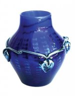 Cobalt Blue Vase With Silver Necklace - V42 - Hand Blown Glass Vases