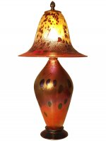 Iridescent Orange Lamp - L01 - Hand Blown Glass Lamp