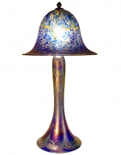 Iridescent Cobalt Blue Lamp - L03 - Hand Blown Glass Lamp
