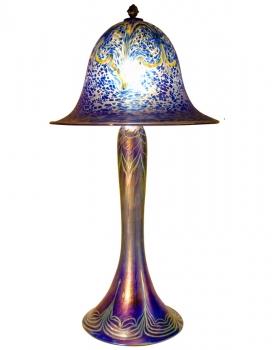 Iridescent Cobalt Blue Lamp - L03 - Hand Blown Glass Lamp