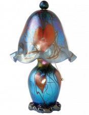 Blue Luster Lamp W/Hearts - L08 - Hand Blown Glass Lamp. Glass Art for Sale