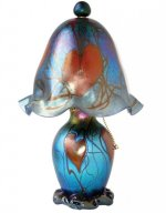 Blue Luster Lamp W/Hearts - L08 - Hand Blown Glass Lamp