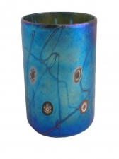 Blue luster drinking glass. Glass Art for Sale