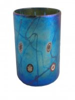 Blue luster drinking glass