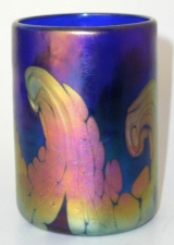 Cobalt blue drinking glass with gold wave design. Glass Art for Sale