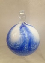 White Ornament with Cobalt Blue Wave Design