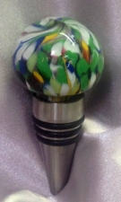 Green Wine Bottle Stopper with multicolor design by Gina Araujo