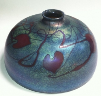 "Blue luster 8"" Dome Shade with Red Hearts design. Glass Art for Sale"