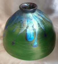 "Iridescent 8""  Green Dome Shade with silver Lava Design."