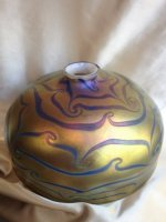 "Gold Luster  10"" Dome Shade with Blue Swirl Design"