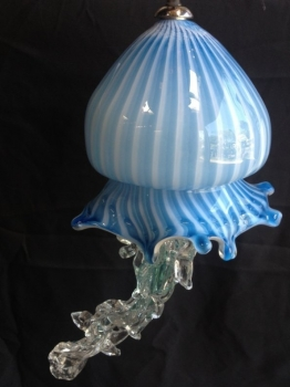 Blue Jelllyfish Pendant blown glass. Glass Art for Sale
