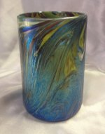 Blue Luster Drinking Glass with Wave Design.