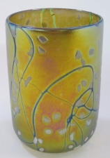 Gold Luster Drinking Glass with White Spot Design