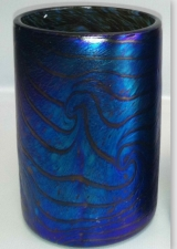 Blue Luster Drinking Glass with Red King Tut Design. Art Glass For Sale