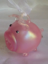 Iridescent Pink Pig Ornament. Blown Glass