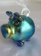 Iridescent Blue Pig Ornament. Blown Glass