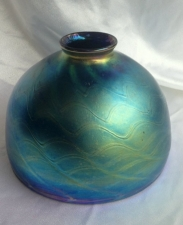 "Luster Blue 8"" Dome Shade With Gold Swirl Design."