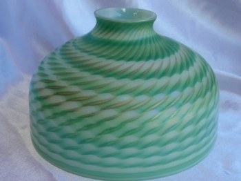 "8"" IRIDESCENT WHITE DOME SHADE WITH GREEN & GOLD MURANO DESIGN. Glass Art for Sale"