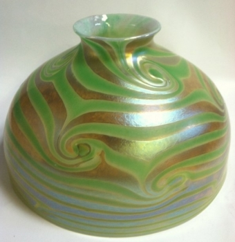 "7"" Gold Dome Shade with Green King Tut Design. Glass Art for Sale"