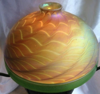 Gold Aurene Dome Shade with Green Encalmo Design. Blown Glass, Collectible Shade. Glass Art for Sale
