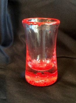 Hand- Blown Red Tequila shot glasses