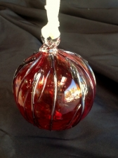 Hand Blown Red Ornament with Silver Vine Design