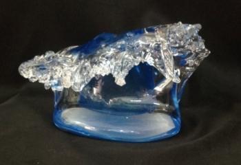 Aqua Marine Wave Sculpture. Glass Art for Sale