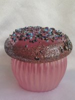Iridescent Pink Glass Cup Cake Blown glass