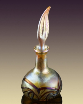 Perfume Bottle Gold Luster with Red Pulled Feather Design. Glass art for sale
