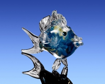 Aqua Marine & Gold Fish Sculpture. Glass art for Sale