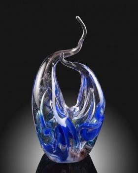 Cobalt Blue Sculpture. Hand Blown Custom sculpture. Glass art