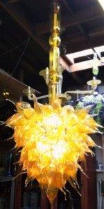 Amber Anemone Handblown glass Chandelier. Glass Art for sale
