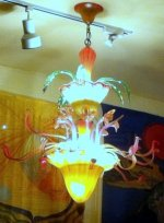 Tropical Blown Glass Flower Chandelier Handmade & Unique lighting.