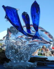 Cobalt Blue Dolphin Award/Trophy. Handblown Glass Art Trophy
